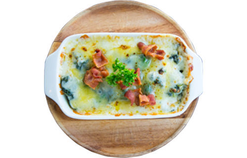 Baked Spinach With Crispy Bacon