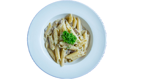 Penne with truffle cream sauce